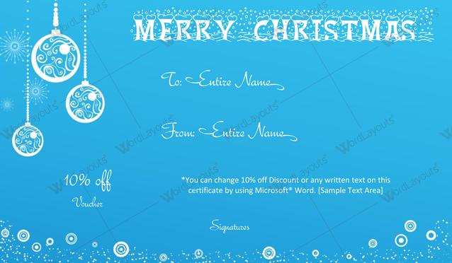 Christmas Gift Certificate (white, voucher design template)