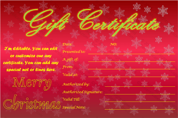 Christmas Snowflakes Gift Certificate Idea Template