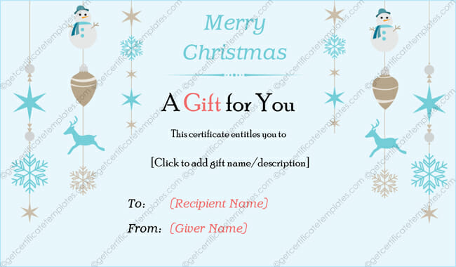 Christmas Snowflakes Gift Certificate (Printable Christmas Gift Certificate)