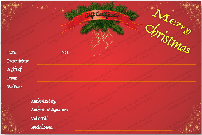 Christmas-Starred-Gift-Certificate-Template (Christmas Gift Certificate Idea)