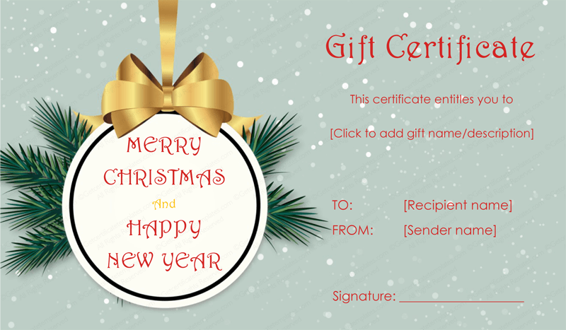Christmas and New Year Gift Certificate WORD