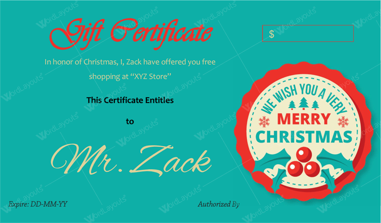 Christmas gift Certificate (Cherry, gift certificate template PDF)