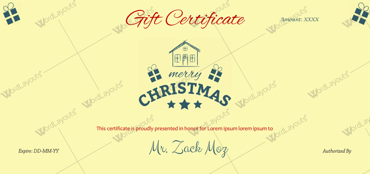 Christmas gift Certificate (Home, Word Format)
