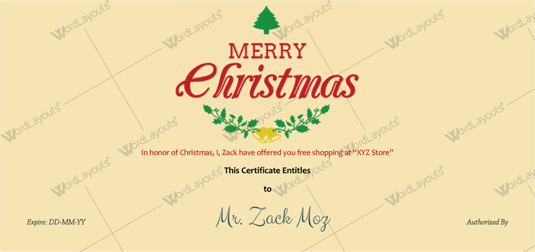 Christmas gift Certificate (Leaves, gift certificate maker )
