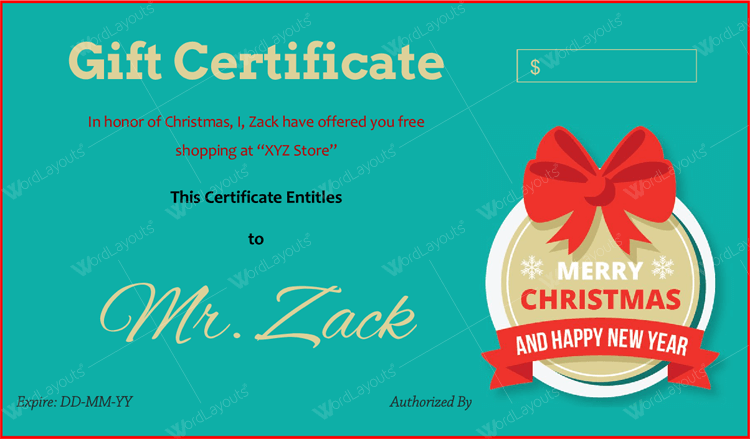 Christmas gift Certificate (Red, printable Christmas gift certificate)