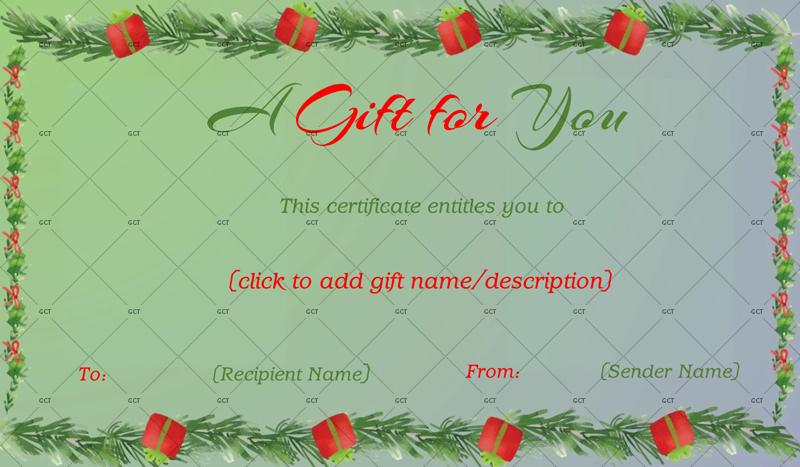 Editable Christmas Fir Border Gift Certificate