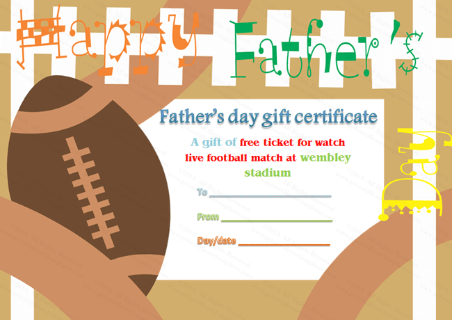 Father's Day Gift Certificate Template (Football, Printable and Editable)