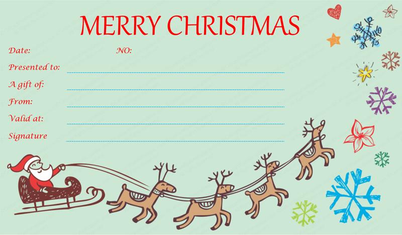 Flying-Reindeers-Christmas-Gift-Certificate (Printable Christmas Gift Certificate)