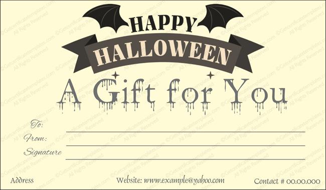 Halloween Gift Certificate (Bat, Printable Gift Voucher)
