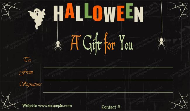 Halloween Gift Certificate (Ghost, Editable Gift Voucher)