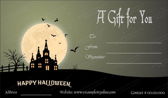 Halloween Gift Certificate (Moon, Printable Gift Voucher)