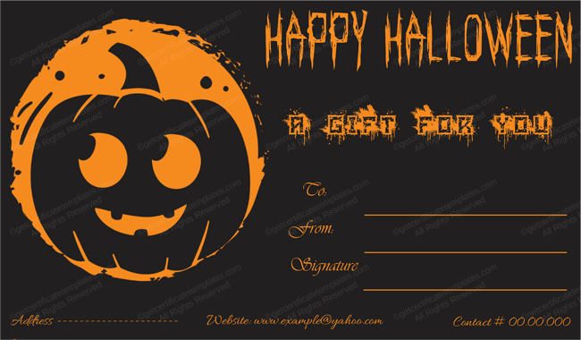 Halloween Gift Certificate (Orange, Fillable Gift Voucher)