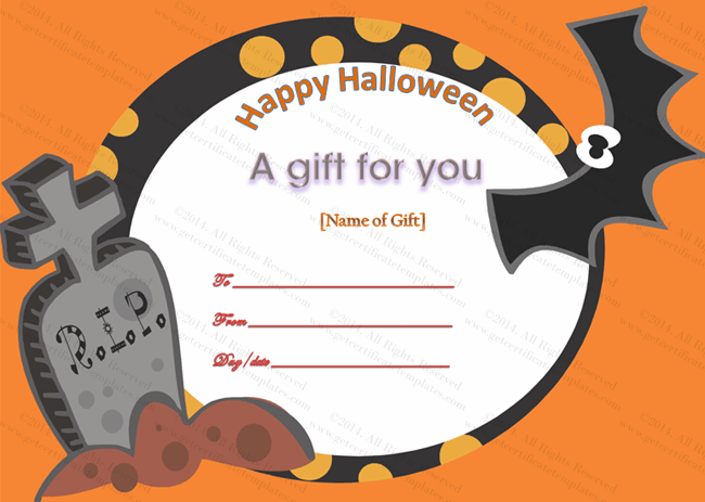 Halloween Gift Certificate Template (Halloween, travel voucher format in word)