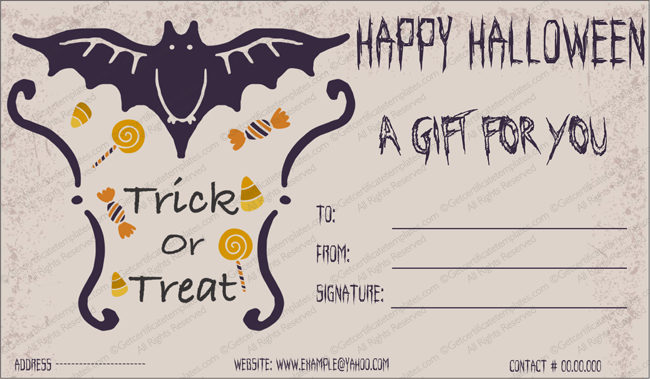 Halloween Gift Certificate (Treat, Printable and Editable)