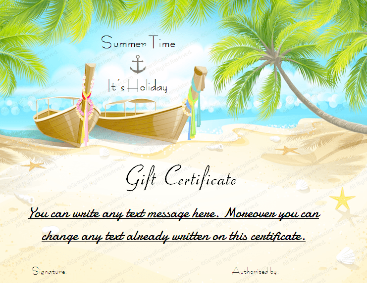 Holiday Gift Certificate Template (Beach, vacation gift voucher template)