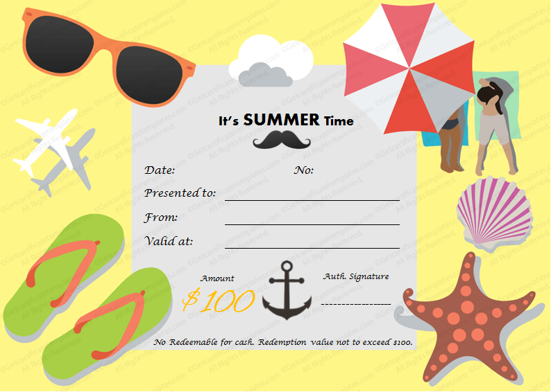 Holiday Gift Certificate Template (Summertime, vacation gift voucher template)