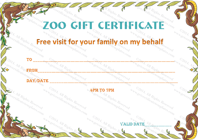 Holiday Gift Certificate Template (Wild Zoo, Editable Template in Word)