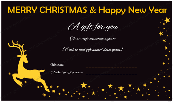 Merry Christmas and Happy New Year Gift Certificate Template