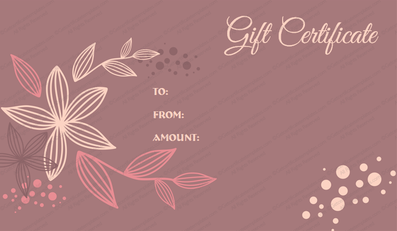 Mother's Day & Father's Gift Certificate Template (Flora, Customizable Template)