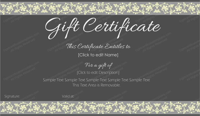Mother's Day Gift Certificate Template (Beauty in Black, Printable Gift Card Template )