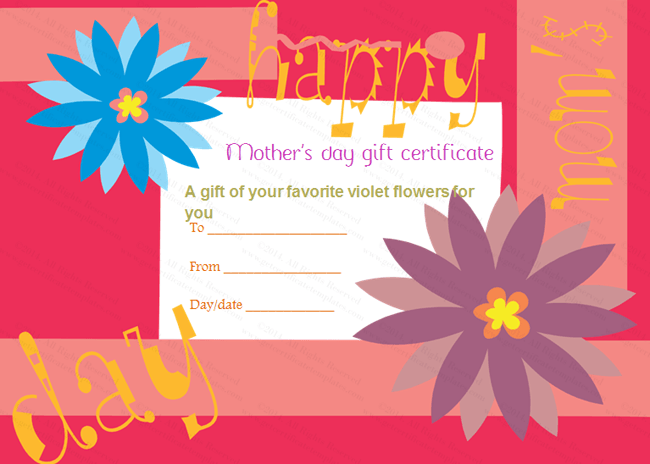 Mother's Day Gift-Certificate Template (Greek, Blank Template)