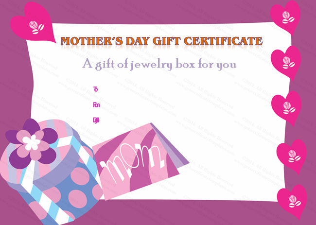 Mother's Day Gift Certificate Template (Present, Gift Voucher Template)