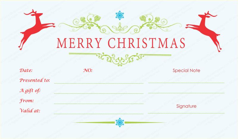 Reindeer-Design-Christmas-Gift-Certificate (Printable Christmas Gift Certificate)