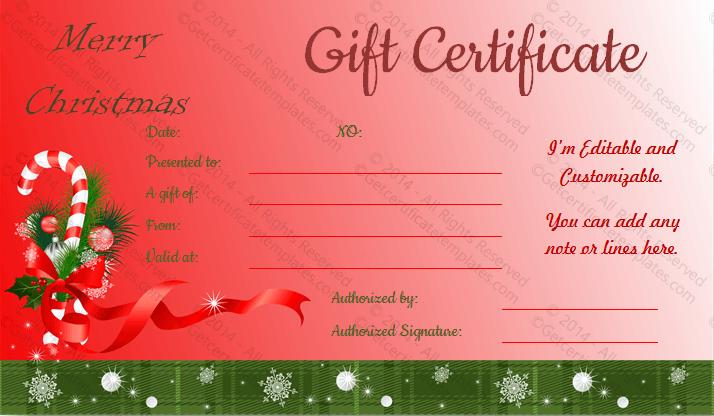 Ribbon-Design-Christmas-Gift-Certificate-Template (Editable Christmas Gift Certificate)