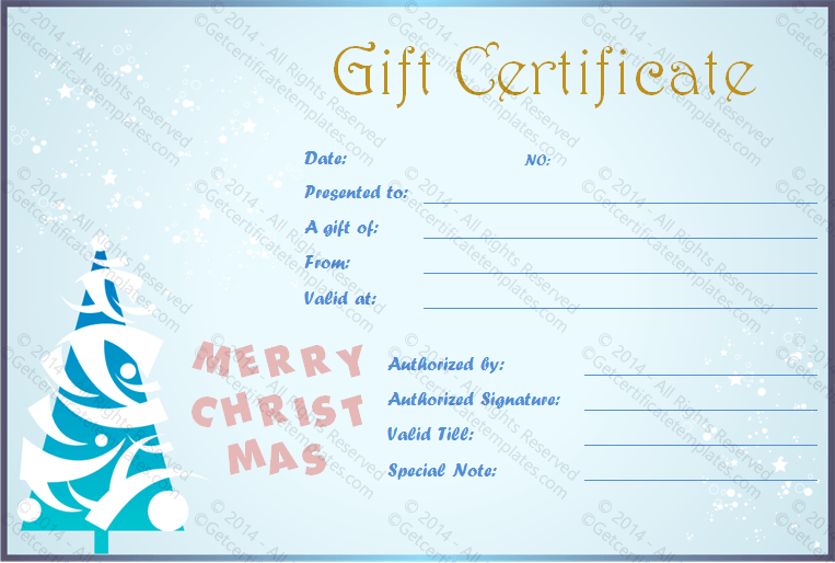 Snow-Fall-Merry-Christmas-Gift-Certificate(Printable Christmas Gift Certificate)