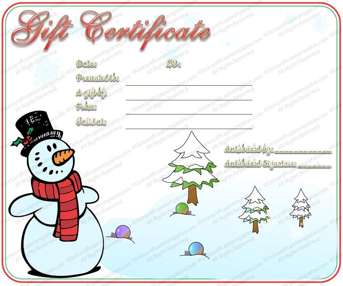 Snowman-Christmas-Gift-Certificate (Christmas Gift Certificate Idea)
