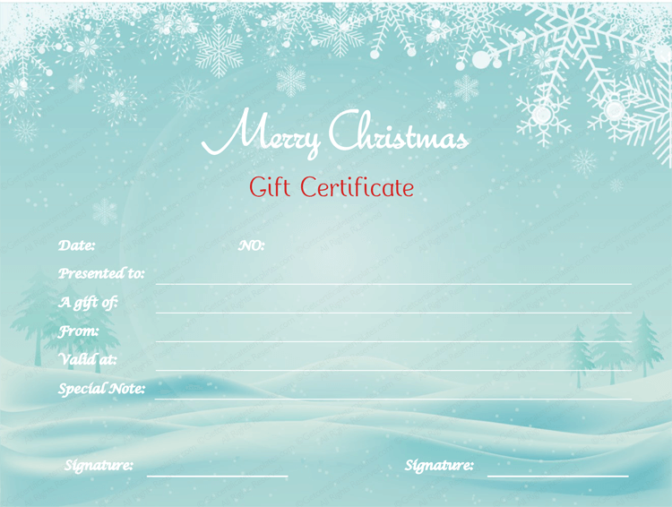 Snowy-Gift-Certificate-Template (Printable Christmas Gift Certificate)