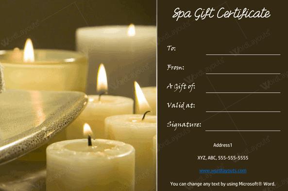 Spa Gift Certificate 19 (salon gift certificate)