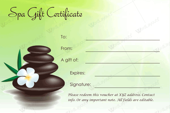 Spa Gift Certificate 22 (light green spa day template)