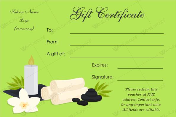 Spa Gift Certificate 24 (salon gift voucher in Word)