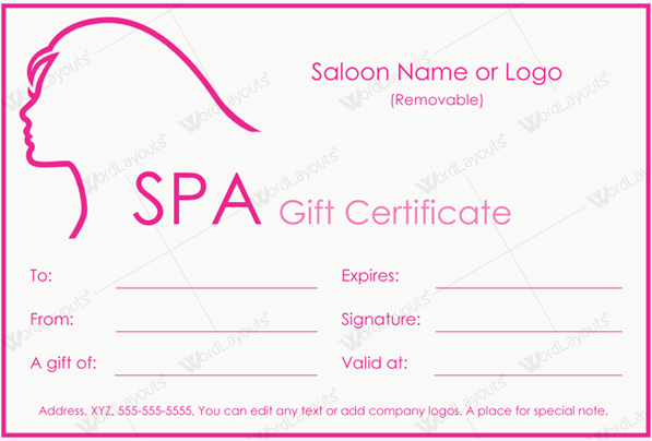 Spa Gift Certificate 26 (hair salon gift certificate in Word)