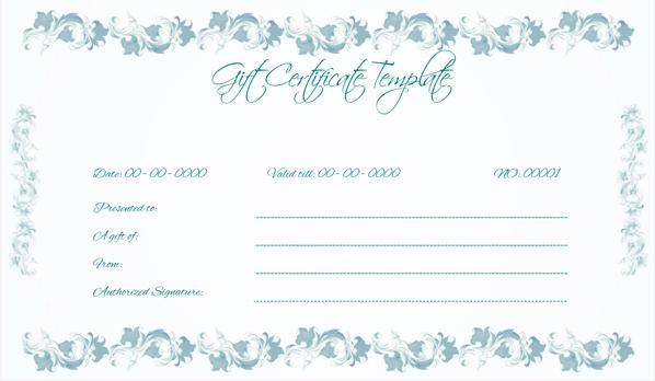 Wedding Gift Certificate (BLU, Editable Gift Voucher)