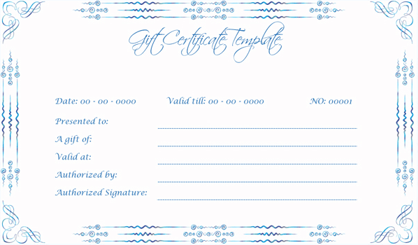 Wedding Gift Certificate (BLU, Voucher Design Template)