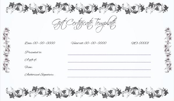 Wedding Gift Certificate (Black, Gift Voucher in Word)