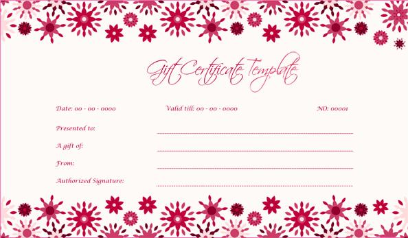 Wedding Gift Certificate (Floral, Blank Gift Voucher)