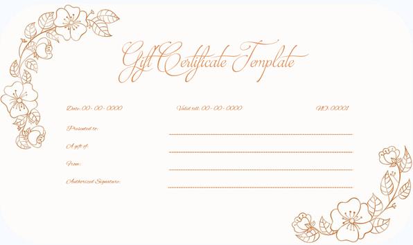 Wedding Gift Certificate (Flowers, Gift Voucher in Word)
