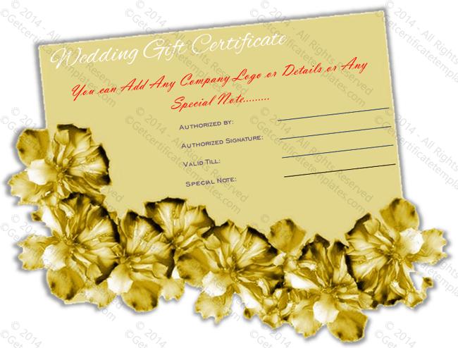 Wedding Gift Certificate (Golden Paper, Voucher Design Template)