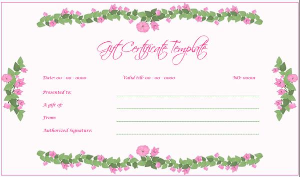 Wedding Gift Certificate (Green, Fillable Gift Voucher)