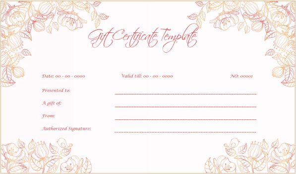 Wedding Gift Certificate (Pink, Gift Voucher Design for Word)