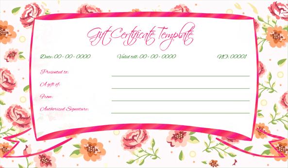 Wedding Gift Certificate (Pink, Printable Gift Voucher)