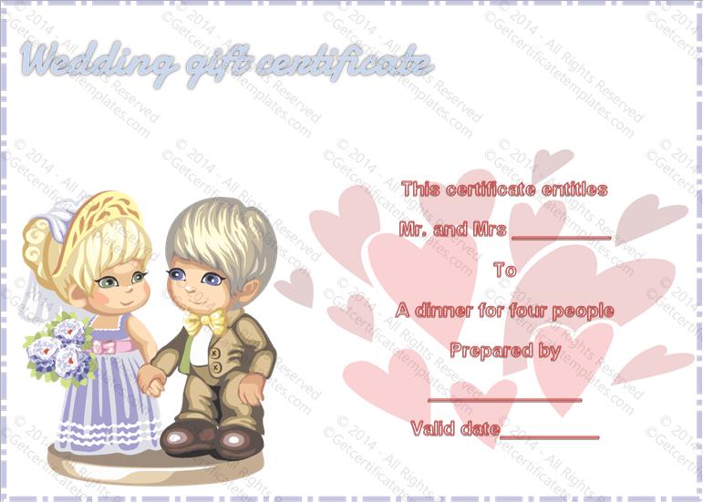 Wedding Gift Certificate (Sweet Love, Voucher Design Template)