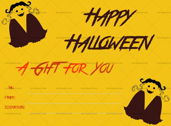 1 Halloween Gift Certificate Ghost Printable Gift Voucher #1023