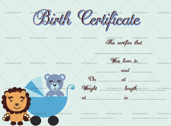 10 Birth Certificate Template Lion Printable in Word #4341