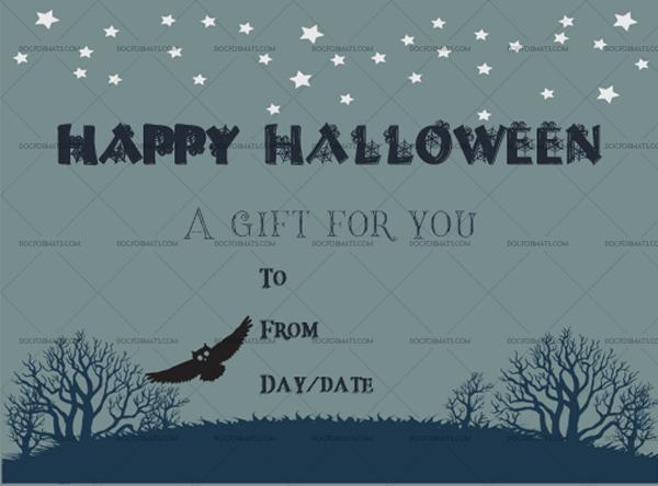 10 Halloween Gift Certificate Night Printable Gift Voucher #1032