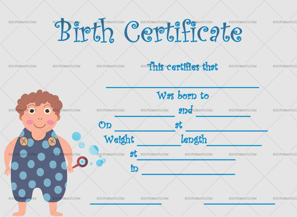 11 Birth Certificate Template Boy Fillable Template #4342