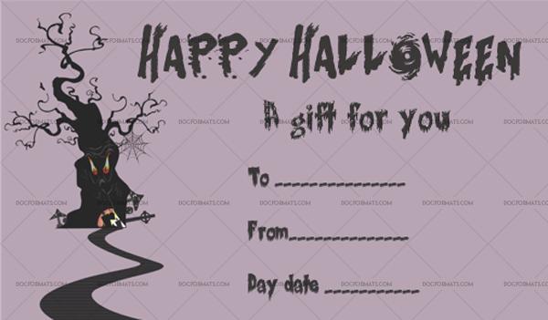 12 Halloween Gift Certificate Tree Blank Gift Voucher #1034